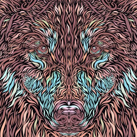face of a majestic wolf or dog, creative pattern Stockfoto