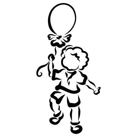 Cheerful kid with a balloon in his hand