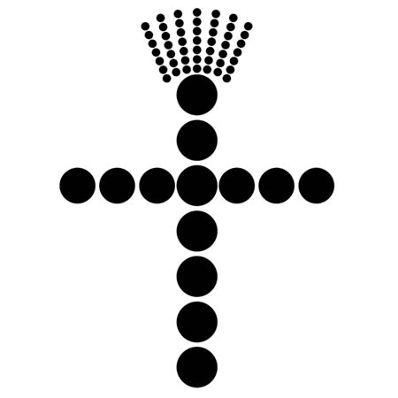Christian cross with a seven-ray crown, black dots