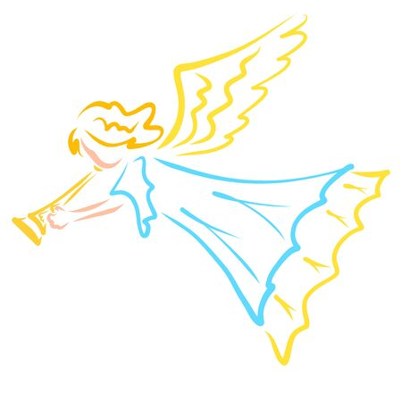 colorful silhouette of a trumpet flying angel Stok Fotoğraf