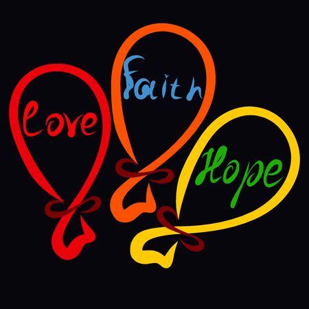 Three balloons with the words Faith, Hope and Love Stok Fotoğraf