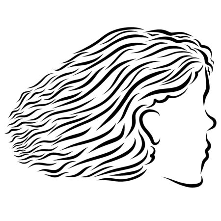 profile of a pretty girl with magnificent hair