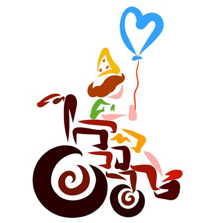 little birthday boy in a wheelchair with a heart-shaped balloon Banco de Imagens