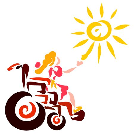 cheerful sun greets a girl with disabilities Banco de Imagens