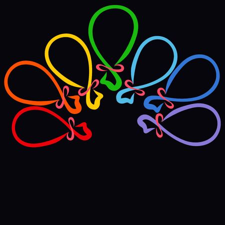 seven balloons on a black background, rainbow colors Stockfoto