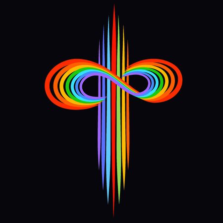 rainbow christian cross with a symbol of infinity