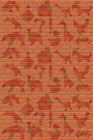 brick wall with tangram puzzle patterns, texture