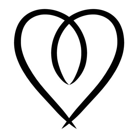 Black pattern, heart and symbolic fish from smooth lines
