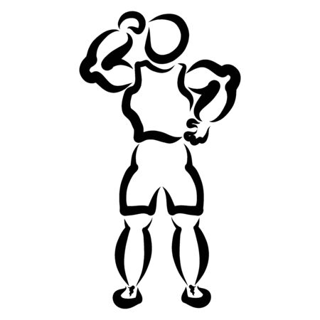 muscular man shows his strength, black silhouette