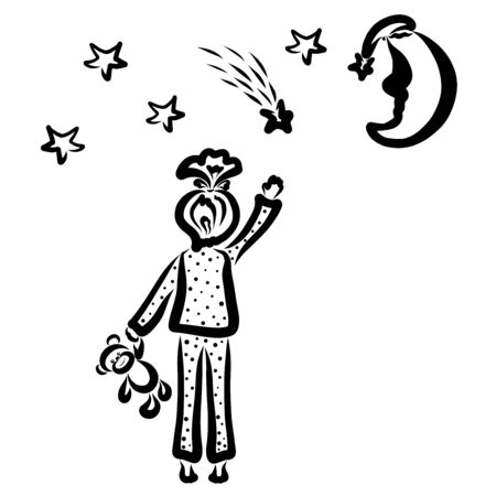 girl waving or catches a shooting star