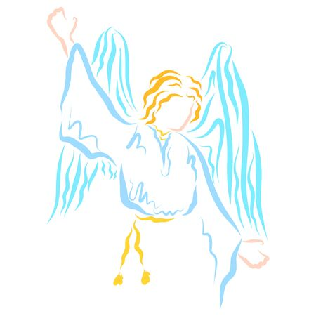 Angel pointing to the sky, blue and yellow pattern Stok Fotoğraf