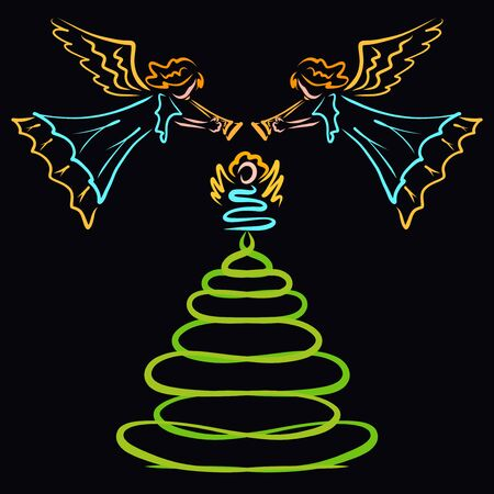 Angels blowing over xmas tree, abstract pattern Zdjęcie Seryjne