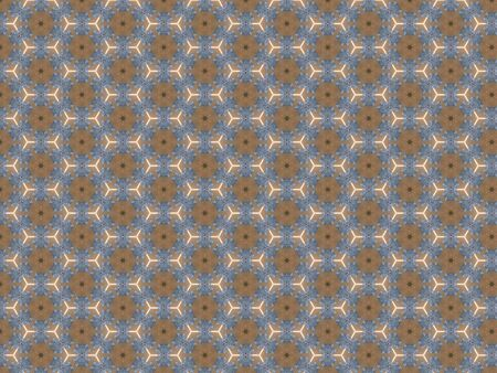 background brown honeycomb pattern white outline blue snowflakes green star Stockfoto