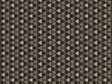 brown background with triangle red pattern with green leaves