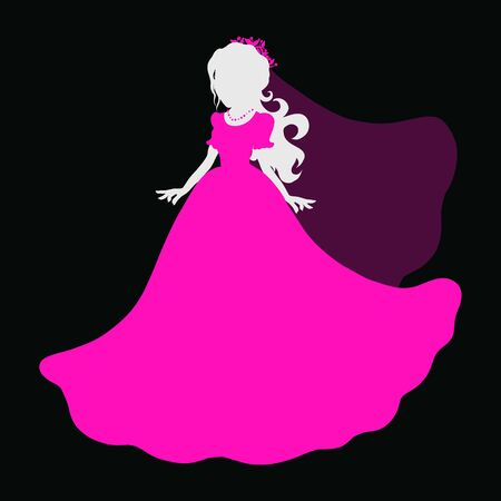 girl in a magnificent pink dress and veil