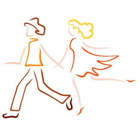 man and woman holding hands in a hurry somewhere Standard-Bild - 132836905