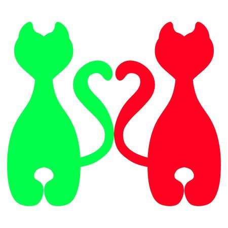 green and red silhouette of cats, together with one heart