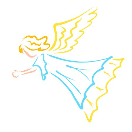 girl with wings or a flying angel in a blue dress