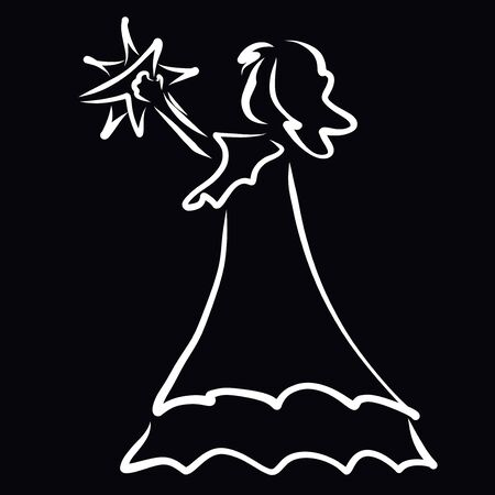 girl in a long dress holds a star in her hand
