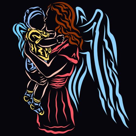 Winged mom kisses the winged babe in her arms