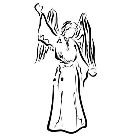 Gods messenger, winged angel pointing up, full length Zdjęcie Seryjne