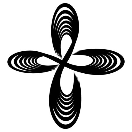 cross of smooth lines, signs of infinity,   black pattern