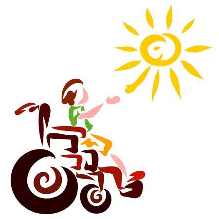 boy in a wheelchair greets the shining sun