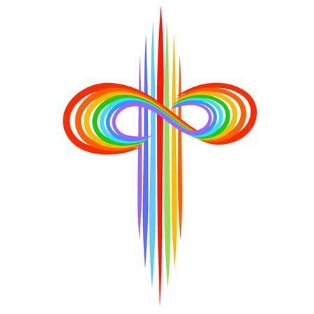 Rainbow cross with infinity symbol, colorful pattern on a white background