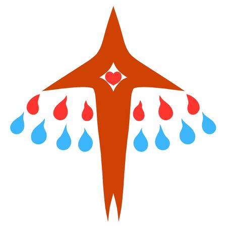 cross resembling a rising bird with a heart and drops of blood and water