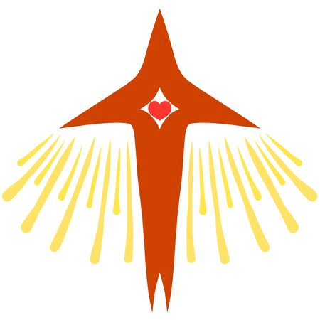 a cross with a heart and rays of light, similar to a take-off airplane or bird
