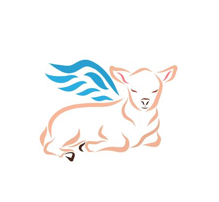 lying winged lamb with closed eyes on a white background