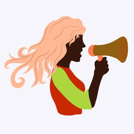 girl with dark skin screams into a loudspeaker Imagens