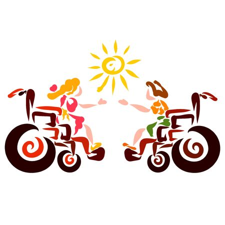 boy and a girl in wheelchairs play with the sun, sending it to each other