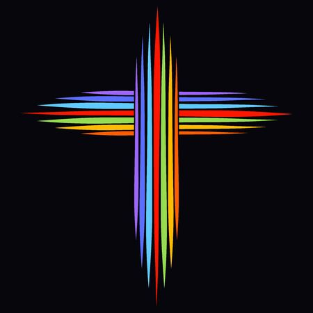 Christian rainbow cross made of lines on a black background