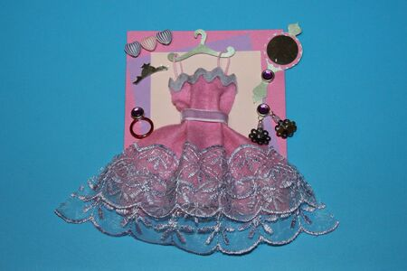 greeting card pink handmade dress with a hanger mirror and earrings and a ring