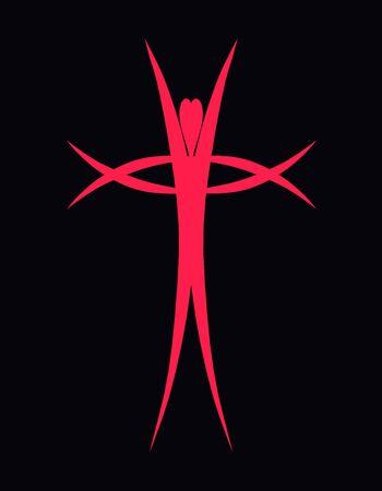 Abstract man uplift hands, cross and heart Standard-Bild - 133406374