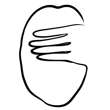 woman covering her eyes with her hand, black outline in one line