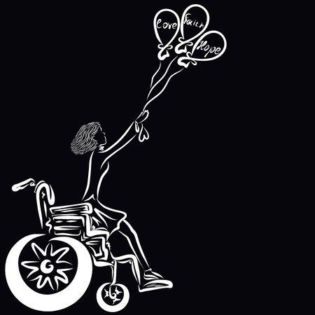 Faith, hope and love, three balloons lift a woman from a wheelchair