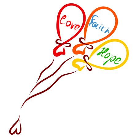 flying colorful balloons with words Faith, Hope and Love