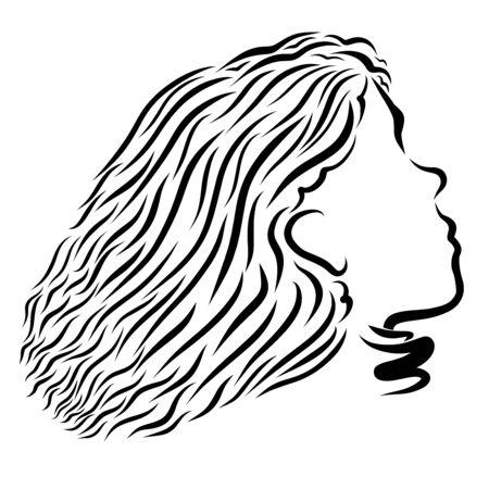 Head of a cute girl looking up Banco de Imagens