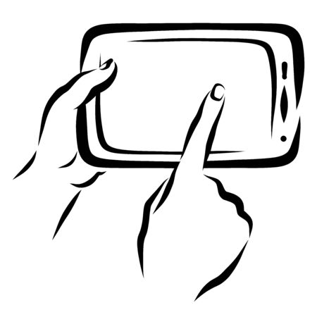 finger points to a blank tablet screen