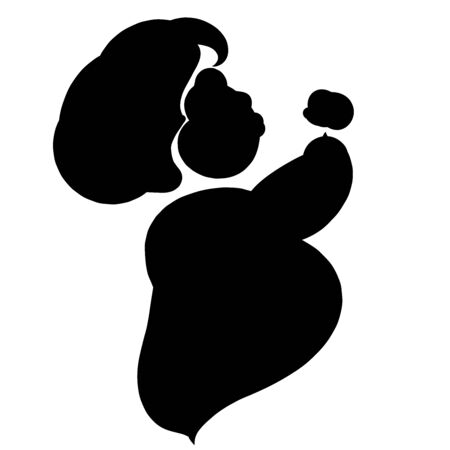 fat or pregnant woman eating or drinking, black silhouette 写真素材