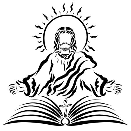Jesus with the shining sun in front of an open book with a cross