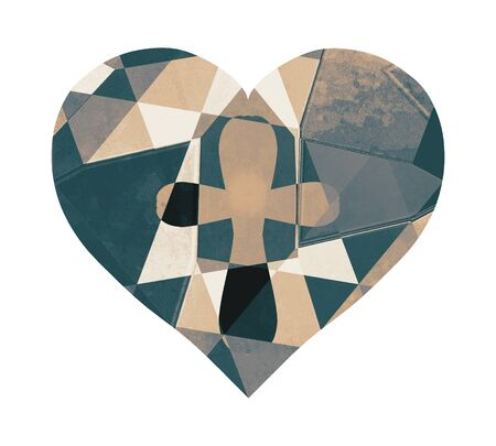 Heart with an abstract pattern and a cross inside