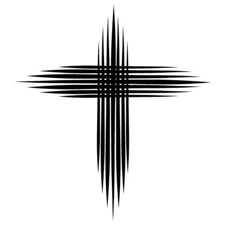 A cross resembling a star of seven black lines Stock Photo
