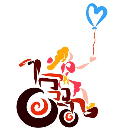 Girl in a wheelchair and a heart shaped balloon rises Stock Photo