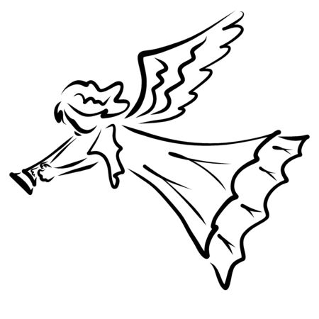 Trumpeting Angel announces the good news, black outline