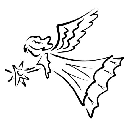 Flying angel with a star in his hand Zdjęcie Seryjne