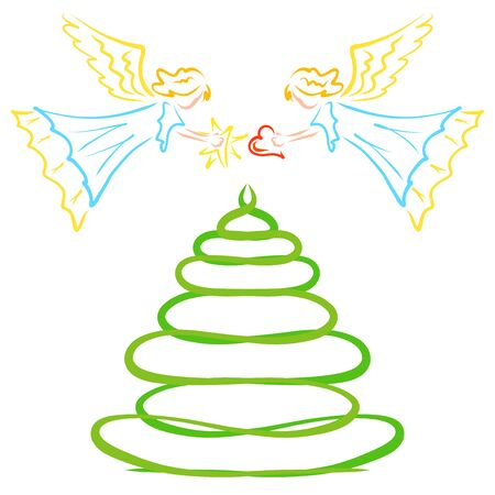 Angels decorate xmas tree with star and heart