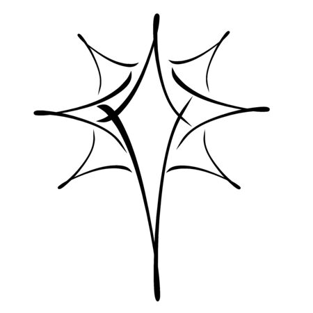 Christmas star, black abstract strokes pattern, white background